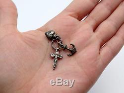 Ancien pendentif argent massif 3 vertus coeur ancre & croix reliquaire XIXeme