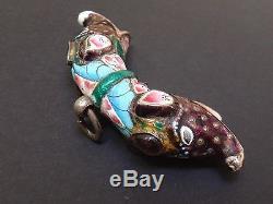 Ancien pendentif en argent massif et email tête d'élelphants Inde 1900
