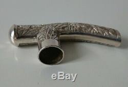 Ancien pommeau à canne ombrelle poignée parapluie old Chinese silver cane knob