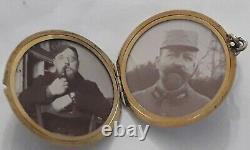 Ancien porte photo pendentif Argent massif emaillé Guilloché Art Nouveau 1900