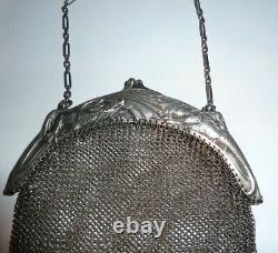 Ancien sac de bal à main en maille d'argent massif aumoniere XIX° dragon silver