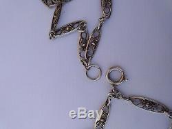 Ancien sautoir en argent massif art nouveau maille olive 142cm french necklace