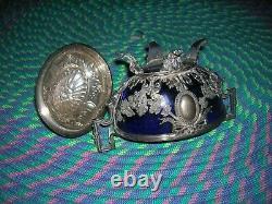 Ancien sucrier en argent massif minerve 460g verre cristal bleu decors de vigne