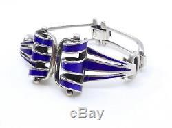 Ancien vintage bracelet en argent massif et email bleu Années 60/70