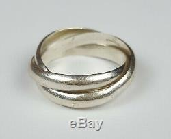 Ancienne Bague Type Cartier Trinity Argent Massif Taille 58 Silver Ring 8.5