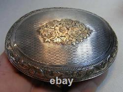 Ancienne Boite Coffret Aumônière Tabatière Or Argent Massif Sanglier Box Silver