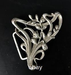 Ancienne Boucle De Ceinture Argent Massif 1900 Art Nouveau Antique Silver Buckle