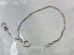 Ancienne Chaîne De Montre Gousset Argent Massif Corail Bijoux Silver Jewel Chain