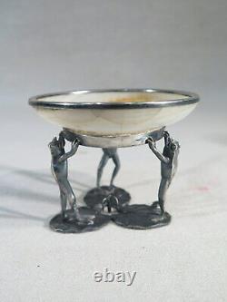 Ancienne Coupe Baguier Argent Massif Aux Grenouilles Nenuphars Albatre 1900