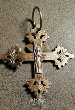 Ancienne Croix grille de Chambéry Argent Massif Vermeil Bijou Régional Savoie