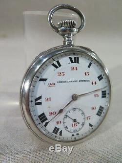 Ancienne Jolie Montre Gousset Homme Chronometre Grimoux Argent Massif