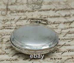 Ancienne Montre Au Coq Argent Cadran Peint Bordier À Genève Enfants Pocket Watch