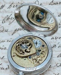 Ancienne Montre De Gousset Coq Argent Bordier Genève À Réviser Poinçon Old Watch