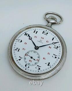 Ancienne Montre Gousset Argent Niéllé Oméga À Réviser Numéroté Old Pocket Watch