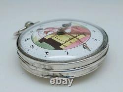Ancienne Montre Gousset Coq Émail Peint À Réviser Scène Antique Old Pocket Watch