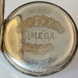 Ancienne Montre à Gousset OMEGA Aldas 1922 en Argent Massif Old Pocket Watch