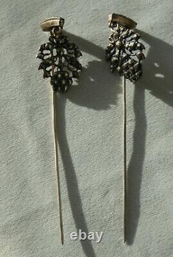 Ancienne Paire D'epingles De Cheveux Bijou Napoleon III Normand Normandie Xixe
