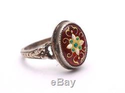 Ancienne bague en argent massif et émaux bressans bijou regional XIXeme T57
