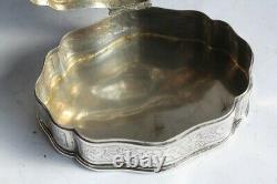 Ancienne boite à bijoux argent massif (50909)