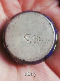 Ancienne boîte à pilules en argent massif cloisonné et émail