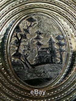 Ancienne boite a priser tabatière argent niellé et or vermeil Russe Russie XIXe