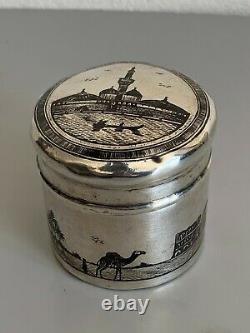 Ancienne boite pot argent massif niellé silver iraqi niello tea caddy signed box