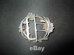 Ancienne boucle de ceinture marguerite argent massif Art Nouveau fin XIX ème