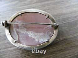 Ancienne broche camée argent massif marcassite