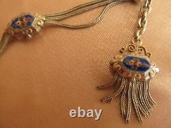 Ancienne chaîne de montre gousset chatelaine argent & émail bleu décor de roses