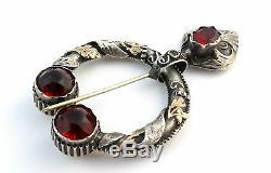 Ancienne fibule broche provencale argent massif et or pierres rouges XIXeme