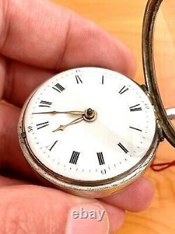 Ancienne montre à coq en Argent Massif Pocket Watch Silver