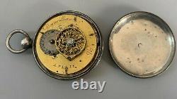 Ancienne montre gousset a coq signée Degresilliers Paris argent massif vieillard