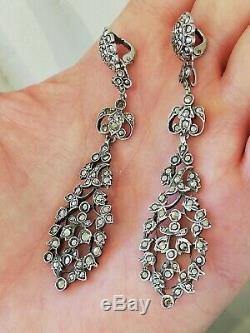 Anciennes boucles d'oreilles en argent massif et marcassite