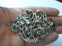 Anciennes boucles de ceinture en argent massif, art nouveau