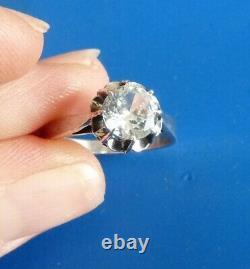 Ancient Antique Jewel Ring Bijou Ancien Bague Solitaire Diamant Pierre Du Rhin