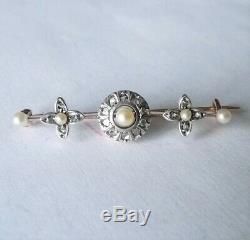 Antique XIX Solid Gold 18k Diamonds Jewel Bijou Ancien Or Massif Perles Diamants