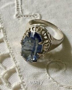 Art Deco Superbe Ancienne Bague Marquise Argent Massif Ouvragé, Topaze Bleue