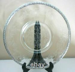 Assiette Ancienne D'apparat Cristal Grave Argent Massif, Xixeme, Roses, Rosiers