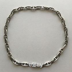 Authentique Et Ancien Collier Vintage Chaine D'ancre Hermès Paris En Argent