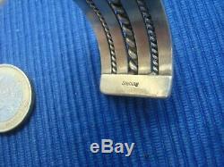 B24 Large Bracelet Jonc Manchette Argent Massif 925 Lot Bijou Ancien TAHE NAVAJO