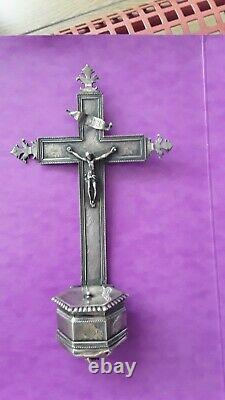 BENITIER CHRIST ARGENT MASSIF XVIIIe, ANCIENNE ORFEVRERIE 18e Bruxelles