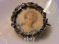 BROCHE ANCIENNE fin 18ème ARGENT MASSIF Vermeillè PORTRAIT Miniature sous Verre