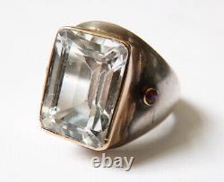 Bague ancienne argent massif et cerclage or et topaze + rubis silver ring bijou