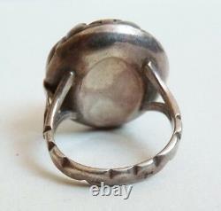 Bague ancienne en argent massif et corail silver ring coral bijou ancien
