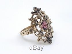 Bague ancienne en argent massif vermeil améthyste et diamants 1900 T54