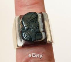 Bague chevalière en ARGENT et camée agate 3 couches Bijou ancien silver ring