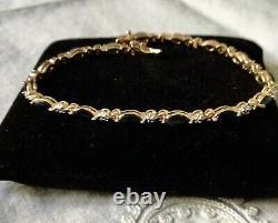 Beau Ancien Bracelet Diamant Saphir Vermeil Or Argent Massif
