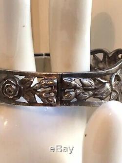 Beau Bracelet Jonc Ancien Argent Massif Roses 1900 Antique Victorian Silver Cuff