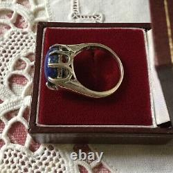 Belle Bague Ancienne Lapis Lazuli Argent Massif, Splendide