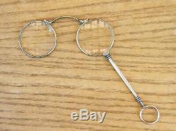 Bésicles Pliants Lunettes Lorgnon en Argent Massif Anciens Silver Silber